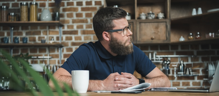 bearded guy in a coffee house